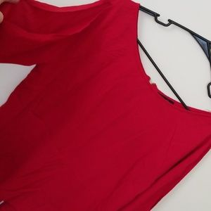 NWT Silky Red Open Split Arm Blouse